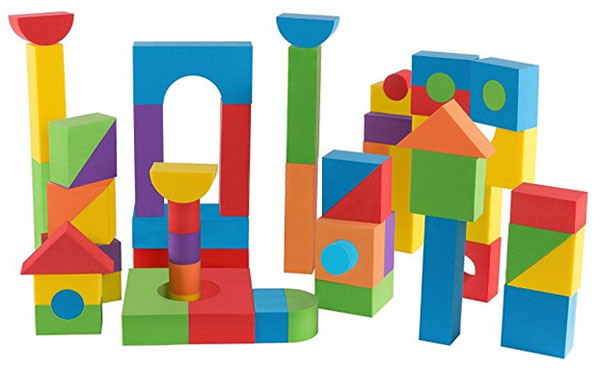 Children's colourful foam blocks